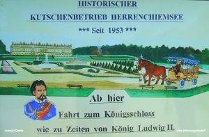 Castello di Herrenchiemsee (l'insegna che ancora accompagna il tragitto in carrozza)